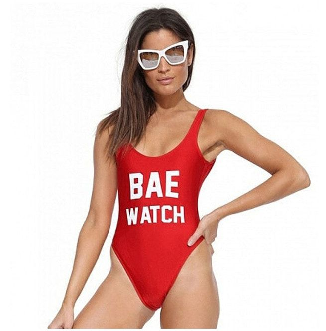 88197f36444 Sexy Red Bae Watch Party Beach Swimsuit | RebelsMarket