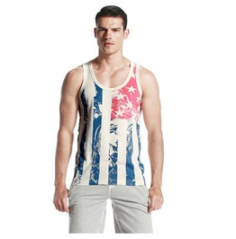 Men's Striped Sleeveless T Shirt