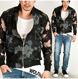Magnolia Pattern Accent See Thru Blouson Jacket 190