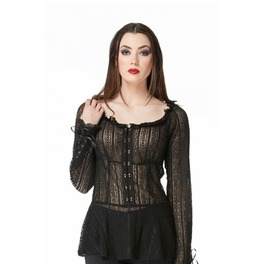 Gothic Alternative Corset Long Sleeve Lace Peplum Top Victorian Jawbreaker
