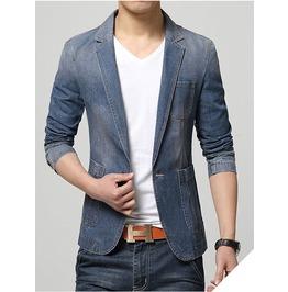 Men's Blue Slim Fit Jeans Jacket