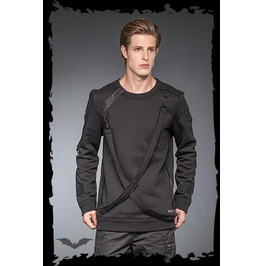 Mens Punk Bondage Strap Long Sleeved Warm Pullover Shirt Free Shipping