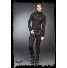Mens Punk Industrial Long Sleeved Goth 2 Layer Burnout Shirt $9 To Ship