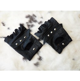 Leather Biker Gloves With Rivets, Post Apocalyptic Mad Max Style