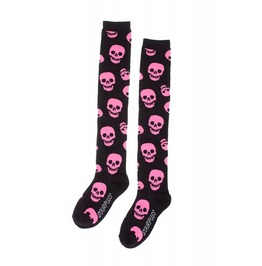 Lust For Skulls Pink And Black Socks
