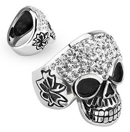 Stainless Steel Grinning Skull W/Clear Simulated Diamond