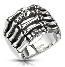 Stainless Steel Skeleton Hand With Skull And Cross Cast Ring