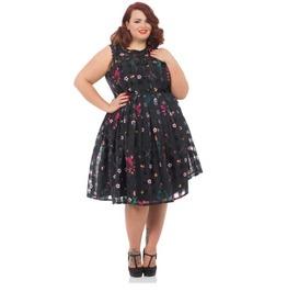 Voodoo Vixen Betsy Flower Power Checked Black Dress Plus Size