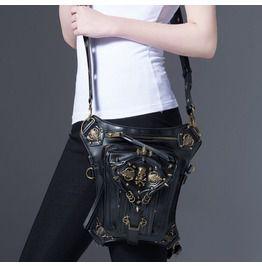 Steampunk Skull Faux Leather Waist Bag Black Holster Chain Stud Hip Bag