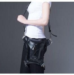 Steampunk Square Faux Leather Waist Bag Black Holster Chain Stud Hip Bag