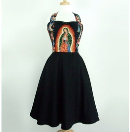 Black Guadalupe 50s Rockabilly Halter Swing Dress $9 Worldwide Shipping
