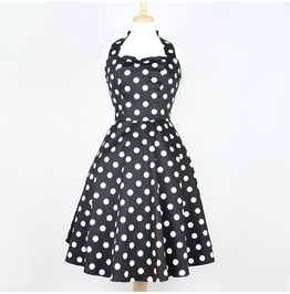 Black White Polkadot 50s Rockabilly Halter Swing Dress $9 World Shipping