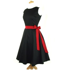 Solid Black 50s Rockabilly Halter Swing Dress Red Belt Free Shipping