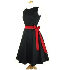 Solid Black 50s Rockabilly Halter Swing Dress Red Belt $9 World Shipping