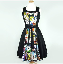 Bright Comic Print 50s Rockabilly Halter Fangirl Swing Dress Ships For Free