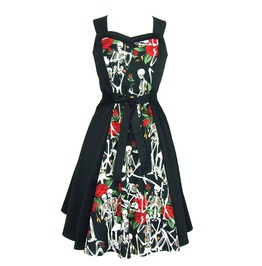 Skeleton Roses Psychobilly 50s Retro Rockabilly Halter Swing Dress
