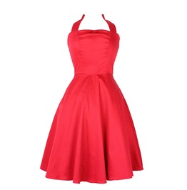 Striking Solid Red 50s Rockabilly Halter Swing Dress $9 World Shipping