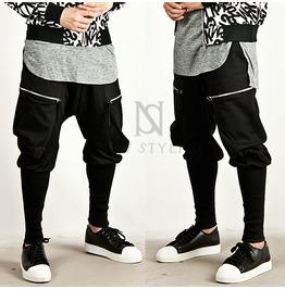 Long banded hem accent zipper pocket slim baggy sweatpants 152 pants and jeans 6