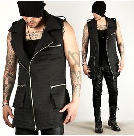 Hound Emboss Pattern Black Slim Rider Vest 61