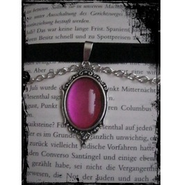 Necklace (Velvet), Pink Stone, Chain