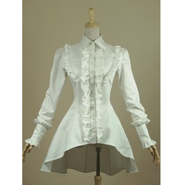 Gothic Swallow Tail Long Sleeved White Women Tops