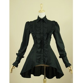 Gothic Flounced Swallow Tail Black Women Long Seleeved Shirt