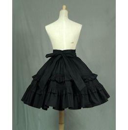 Gothic Black Flounced Full Skirted Puff Umbrella Skirt