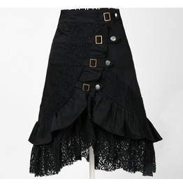 Punk Black Lace Irregular Asymmetric Hem Middle Skirt