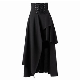 Gothic Dark High Waist Irregular Lace Up Middle Skirt