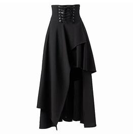 Gothic Dark High Waist Irregular Lace Up Middle Skirt