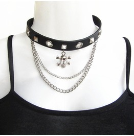 Punk Two Layers Chain Stud Rivets Skeleton Women's Faux Leather Choker