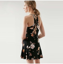 Vintage Floral Printed Backless Lace Up Ruffle Flare Dress