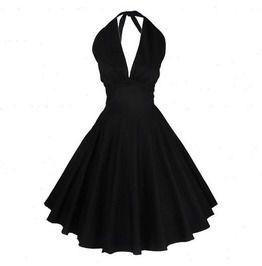 Reb black white vintage knee length summer flare dress dresses