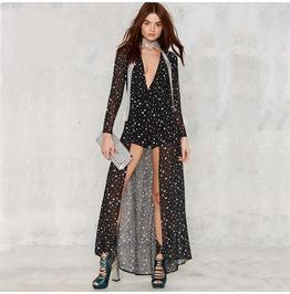 Deep V Stars Printed Sheer Chiffon Fashion Elegant Jumpsuit