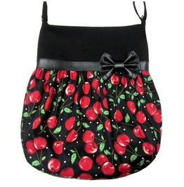 Black Red Cherry Print Crossbody Tote Bag Black Faux Leather Bow Loli