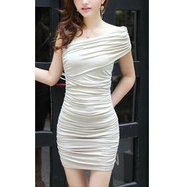 Design 3040 White Strapless Silk Ruffle Mini Dress