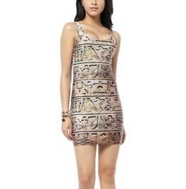 Hieroglyphics Sleeveless Mini Dress