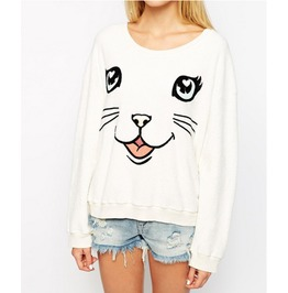 Woman's White Cat Sweater