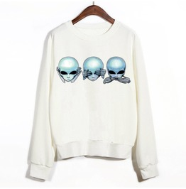 Women's Three Mystic Martians Printed Long Sleeve White Sweatshirt