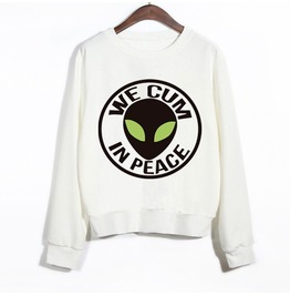 Women's Alien Printed Long Sleeve White Sweatshirt