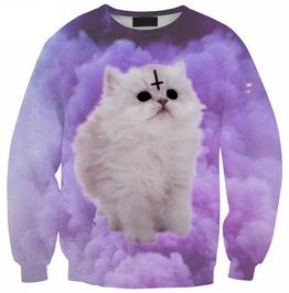 3 D Clouds White Cat Pullover Sweatshirt