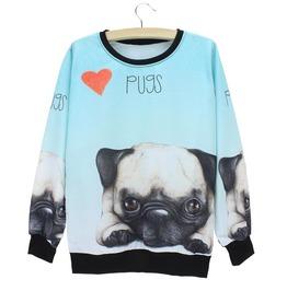 3 D Pugs Pattern Sweatshirt Women's