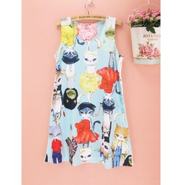 Lovely Catwoman Printed Dress Women