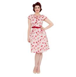 Voodoo Vixen Hilda Cherry Basket Belted Spring Dress