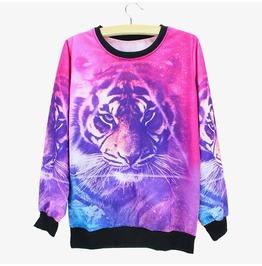 Novelty Tiger Printed Sweatshirt Women's