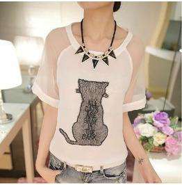 Cat Patterm T Shirt Women's