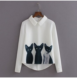 Three Cats Printed Womens T Shirts Long Sleeved