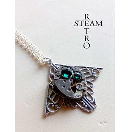 Mackintosh Art Deco Steampunk Green Necklace Steampunk Jewellery
