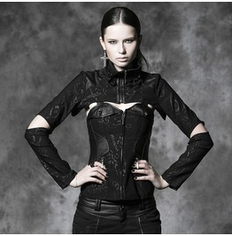 Gothic Goth Punk Rock Black Leather Look Corset Bolero Jacket Set