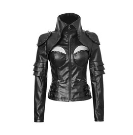 Gothic Punk Rock Cyber Military Leather Look Black Jacket